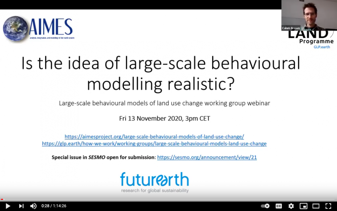 """Webinar recording available for """"Is the idea of large-scale behavioural modelling realistic?"""""""